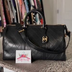 Chanel Black Bicolore Boston in Quilted Lambskin